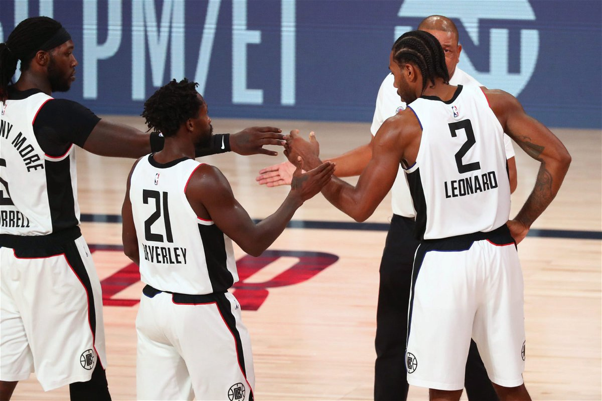 Los Angeles Clippers celebrating in 2020 NBA playoffs
