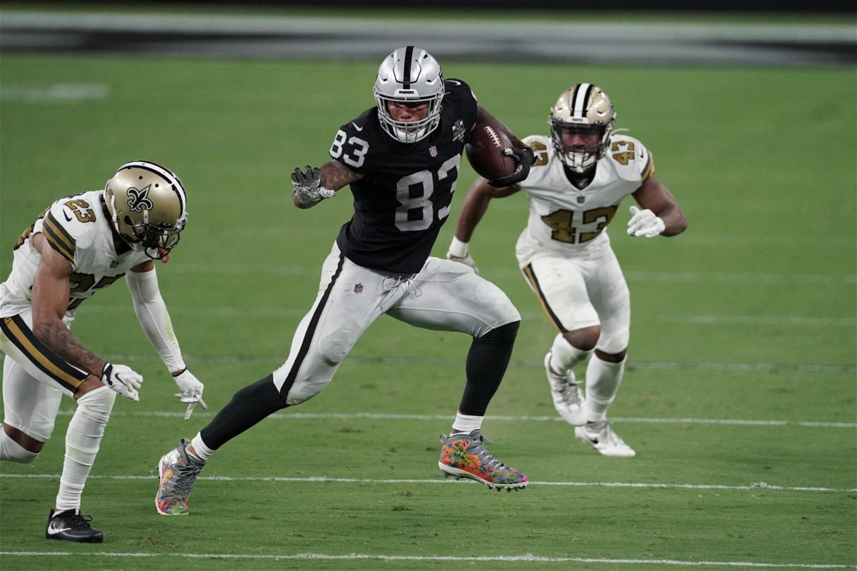 Las Vegas Raiders tight end Darren Waller runs with the ball against New Orleans Saints on Monday.