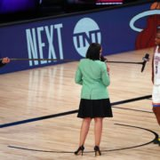 Oklahoma City Thunder guard Chris Paul is interviewed after defeating the Houston Rockets