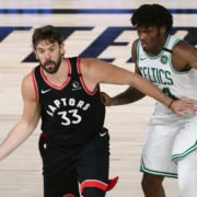 Toronto Raptors center Marc Gasol against Boston Celtics big man Robert Williams at the 2020 NBA Playoffs