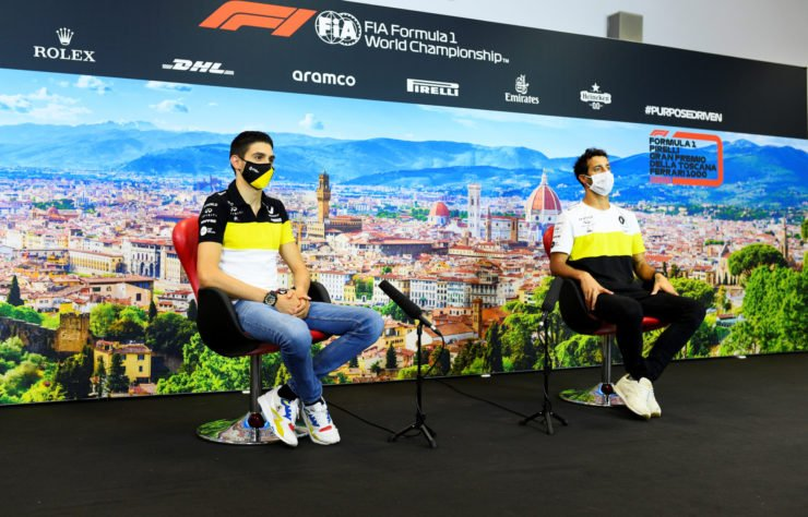 Daniel Ricciardo and Esteban Ocon during a press conference