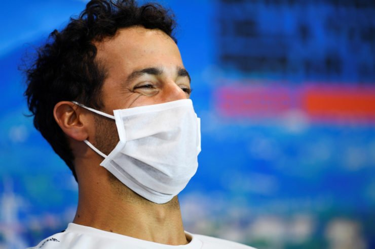 Danier Ricciardo in a press conference in Tuscan