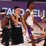 Jamal Murray and Michael Porter Jr. celebrate as Nuggets win WCF Game 3 against Lakers
