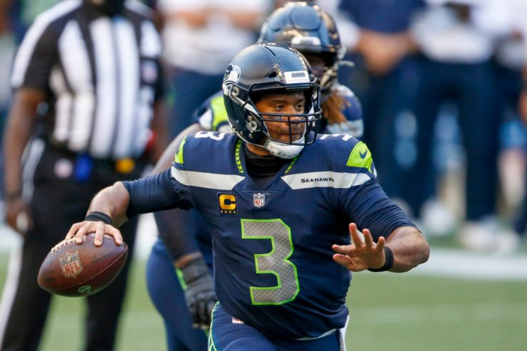 Seattle Seahawks quarterback Russell Wilson attempts to throw against New England Patriots in their Week Two encounter.