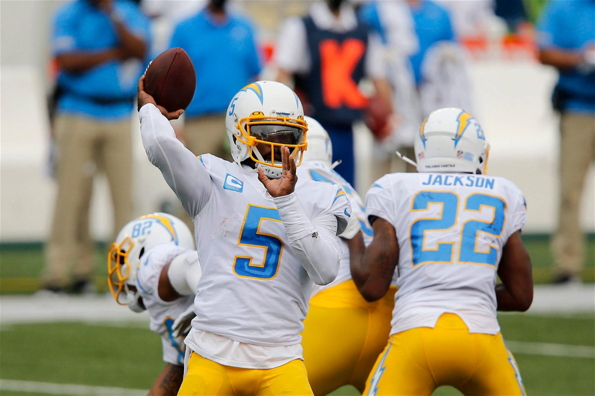 Los Angeles Chargers quarterback makes a throw against Cincinnati Bengals in Week One of the 2020 NFL season.