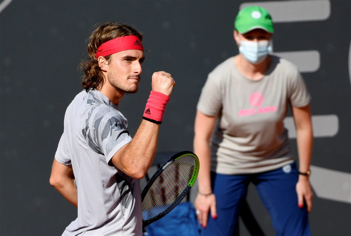 Stefanos Tsitsipas celebrates after winning a point in the German Open