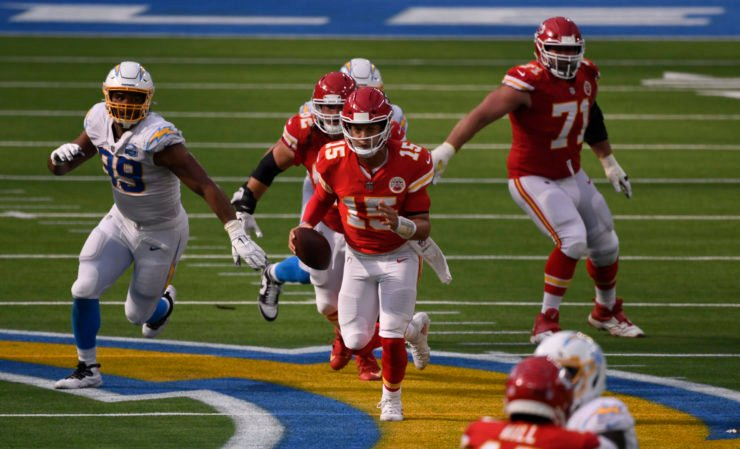 Kansas City Chiefs quarterback Patrick Mahomes attempts to make a play against Los Angeles Chargers in Week Two.