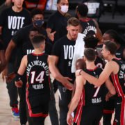 Miami Heat team post their Game 4 win against the Boston Celtics