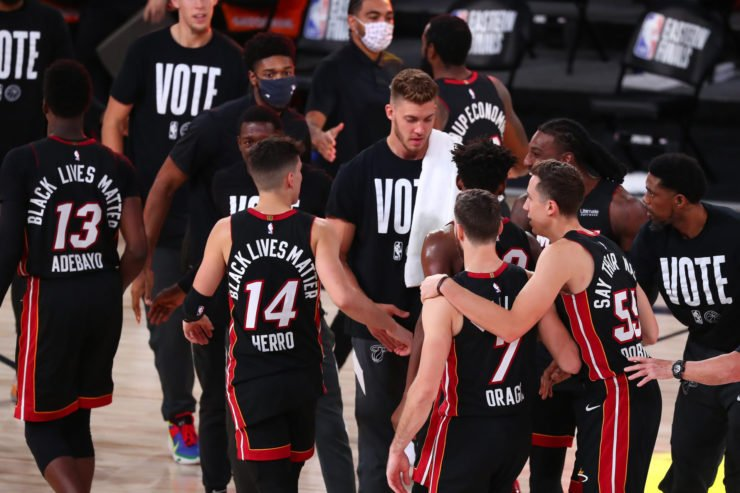 Miami Heat team post their Game 4 win against the Boston Celtics