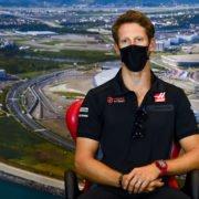 Haas driver Romain Grosjean at a press conference ahead of the Russian Grand Prix
