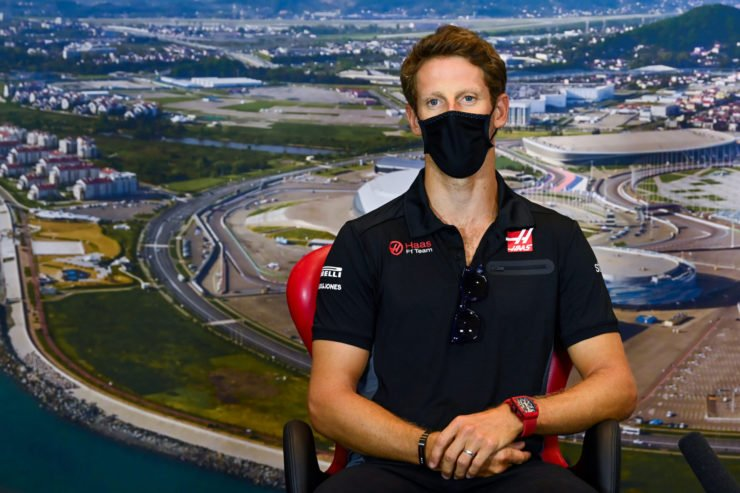 Haas driver Romain Grosjean at a press conference ahead of the Russian Grand Prix