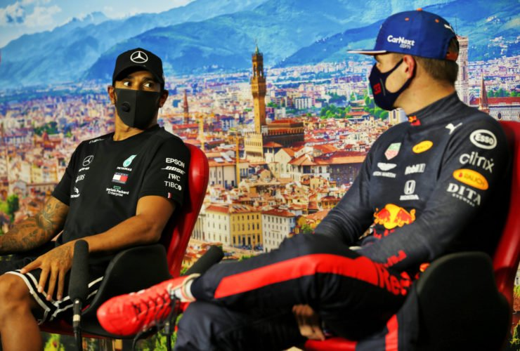 Lewis Hamilton and Max Verstappen at a presser