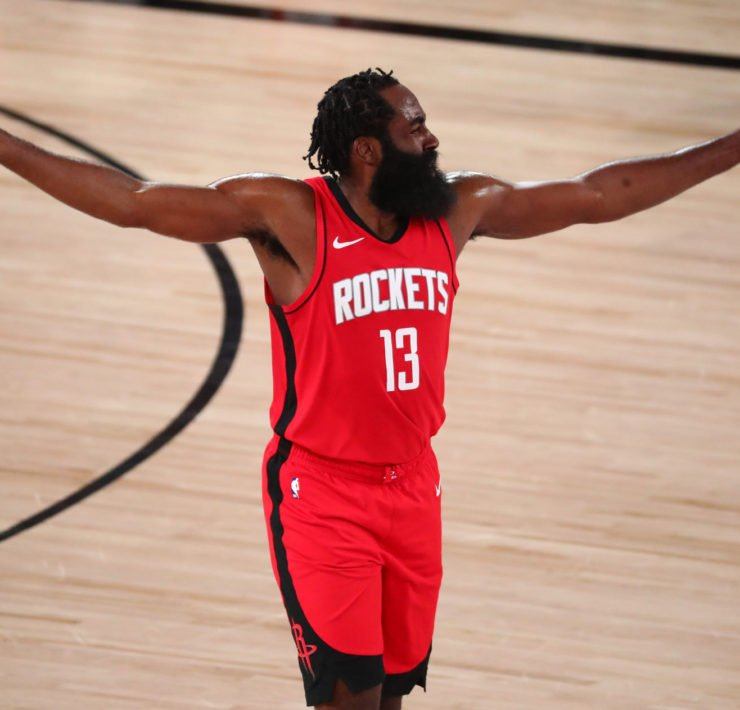 Houston Rockets superstar James Harden in 2020 NBA playoffs