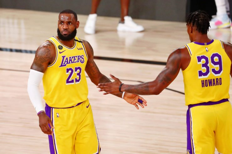 Los Angeles Lakers stars LeBron James and Dwight Howard celebrating
