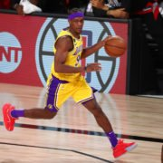 Lakers' veteran point guard Rajon Rondo in action in Western Conference Finals