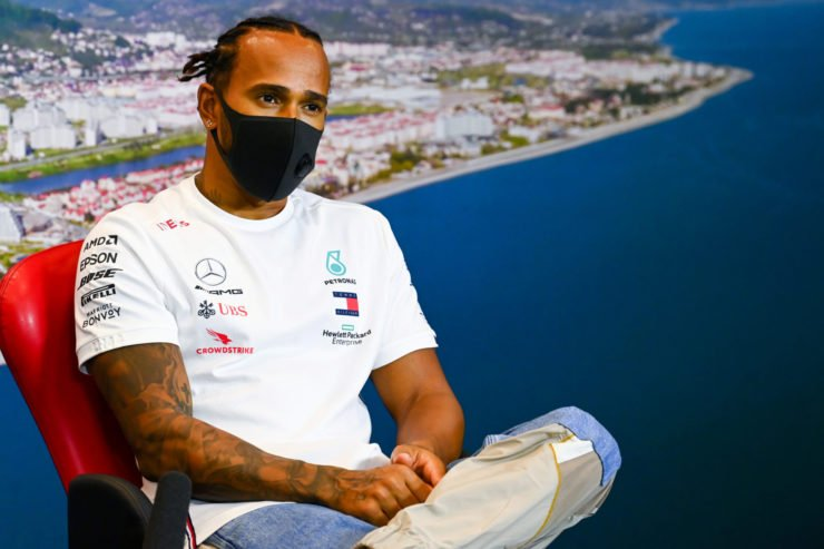 Mercedes' Lewis Hamilton at the drivers press conference in Sochi