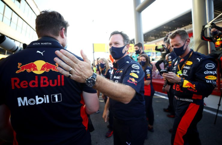 Red Bull CEO Christian Horner congratulating his team