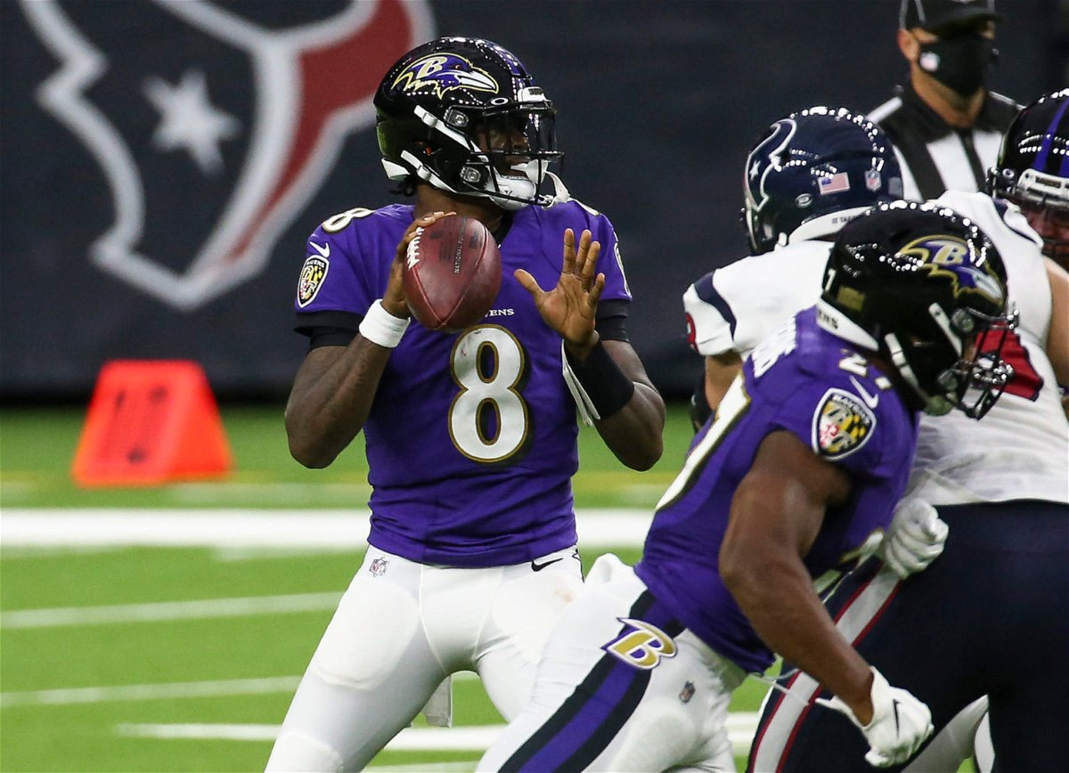 Baltimore Ravens quarterback Lamar Jackson makes a play against the Houston Texans in Week Two.