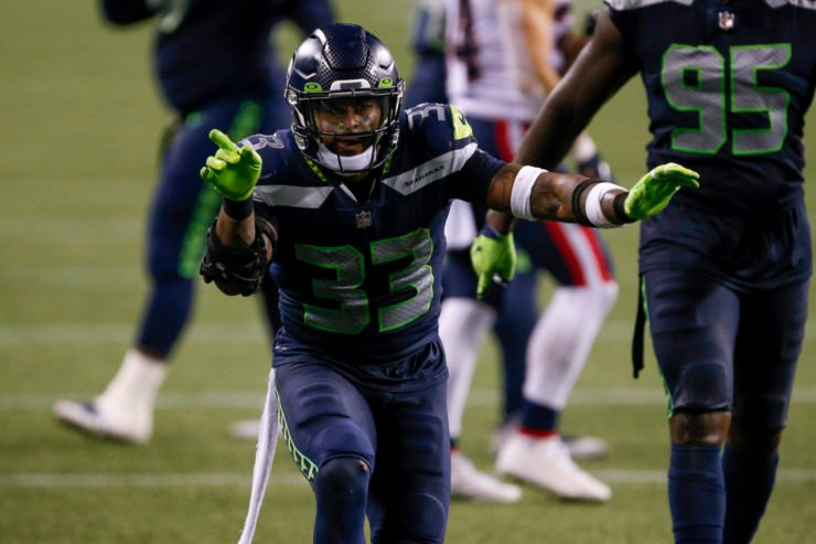Seattle Seahawks safety Jamal Adams celebrates after making a play against New England Patriots in Week Two.