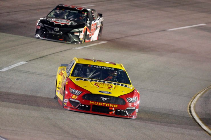 Joey Logano in action in a NASCAR Cup Series race