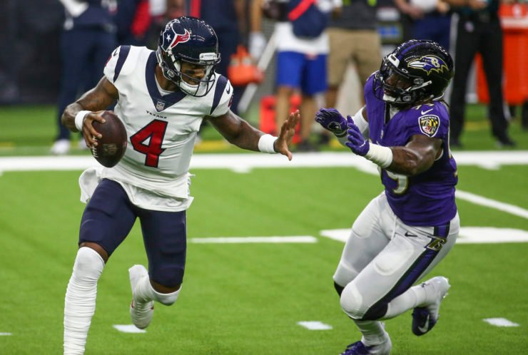 Houston Texans quarterback Deshaun Watson attempts to make a play against Baltimore Ravens in Week Two.