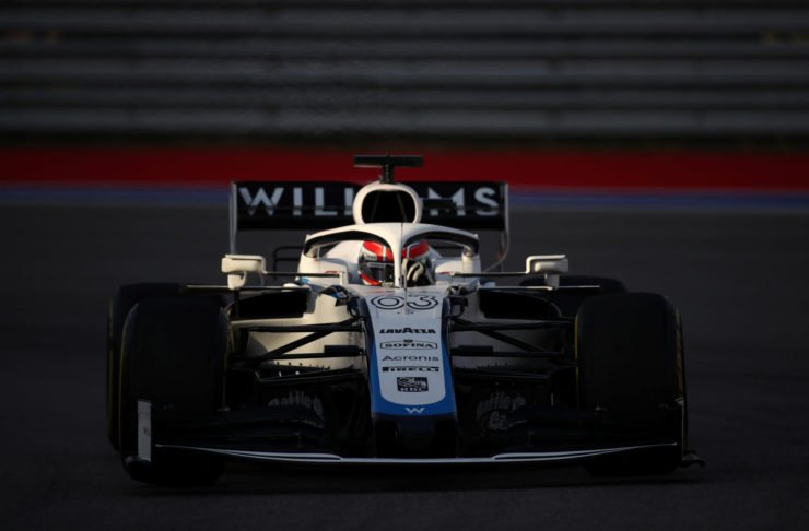 George Russell in the Williams during practice at Sochi