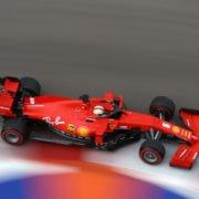 Ferrari's Sebastian Vettel on a lap during Russian Grand Prix Qualifying