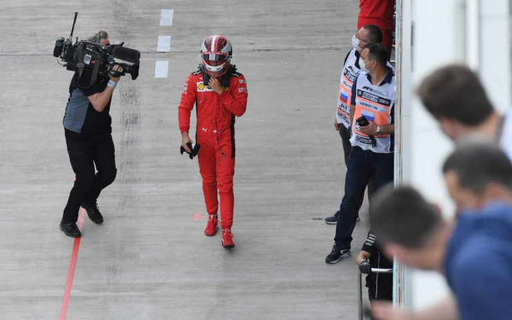 Ferrari driver Charles Leclerc on his way to the weigh bridge following his Q2 exit in Sochi
