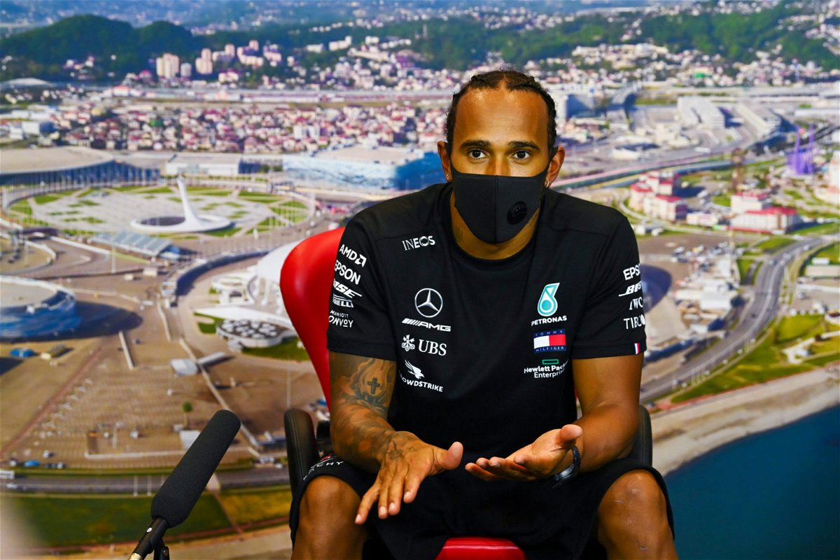 Lewis Hamilton during press conference in Sochi