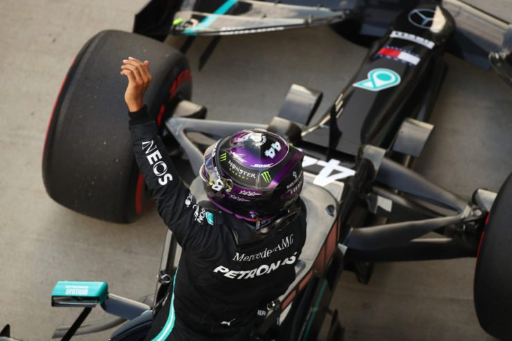 Merceds driver Lewis Hamilton celebrates after clinching pole position for the F1 Russian Grand Prix