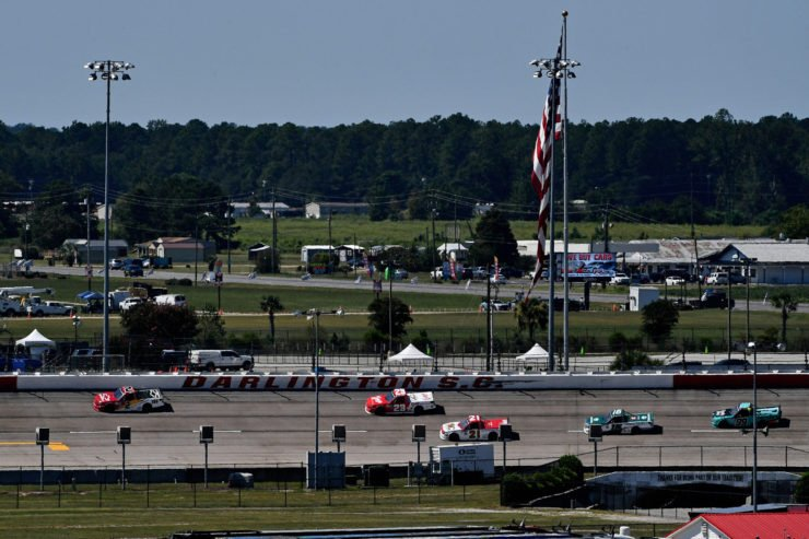 Ben Rhodes and Christian Eckes in action in NASCAR Truck Series