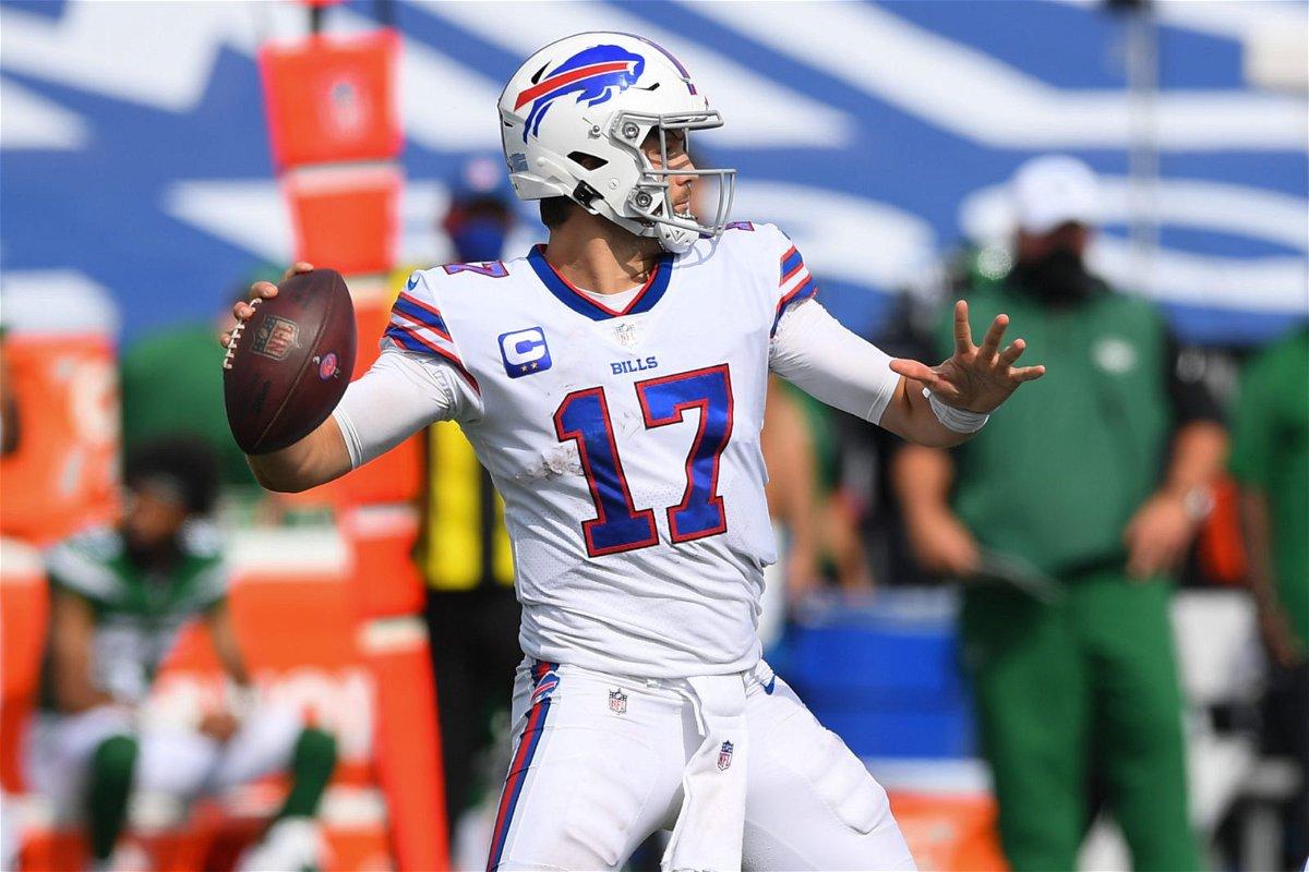 Buffalo Bills quarterback Josh Allen attempts a throw against New York Jets in Week One.