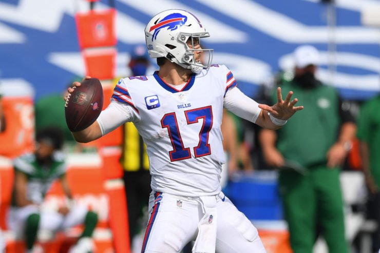 Buffalo Bills quarterback Josh Allen attempts a throw against New York Jets in Week One.