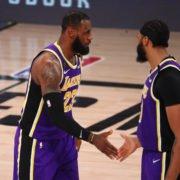 Los Angeles Lakers superstars LeBron James and Anthony Davis celebrating