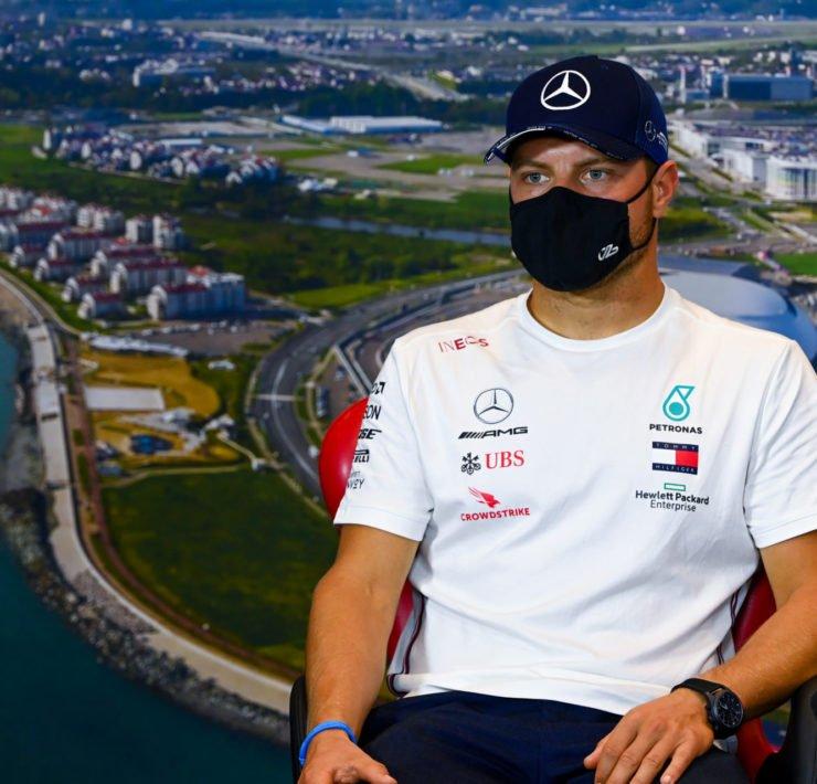 Mercedes' Valtteri Bottas during the press conference at Russian Grand Prix 2020