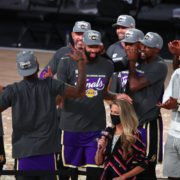 Los Angeles Lakers forward Anthony Davis (middle) celebrates with teammates