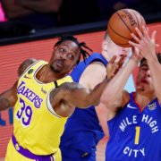 Los Angeles Lakers center Dwight Howard tries to reach the ball against the Denver Nuggets