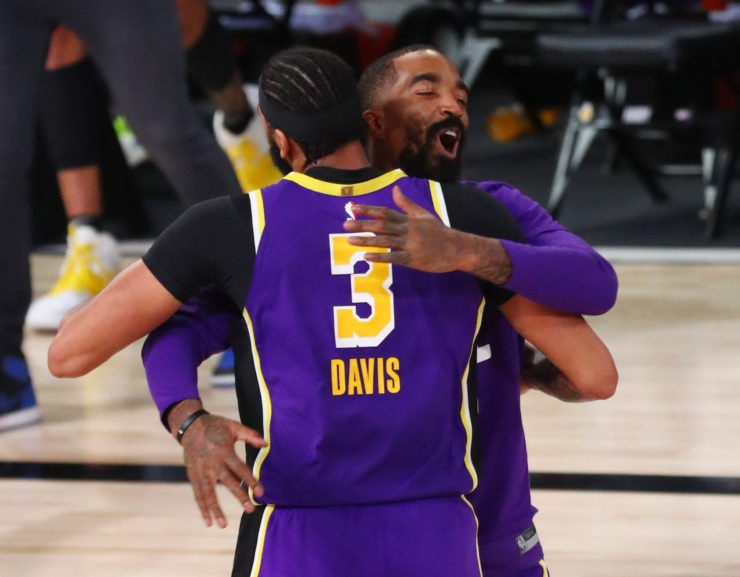 Los Angeles Lakers forward Anthony Davis celebrates with J.R. Smith