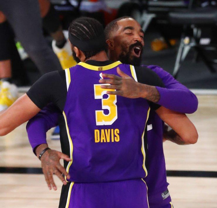 Los Angeles Lakers forward Anthony Davis celebrates with J.R. Smith