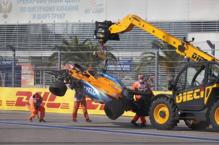 Carlos Sainz crashed at turn 2 in Sochi