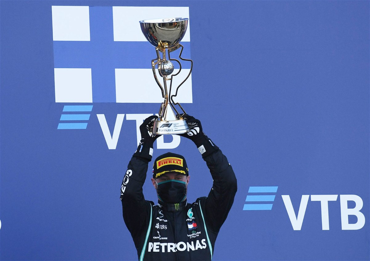 Valtteri Bottas with the Russian Grand Prix trophy