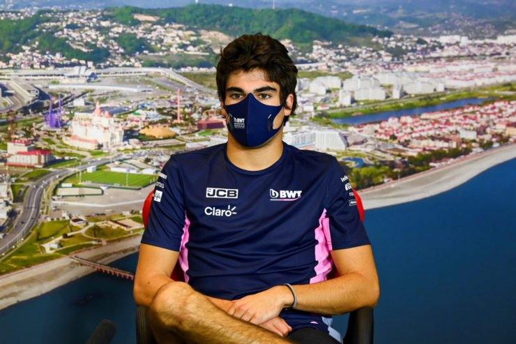 Racing Point driver Lance Stroll speaks to the press in Sochi