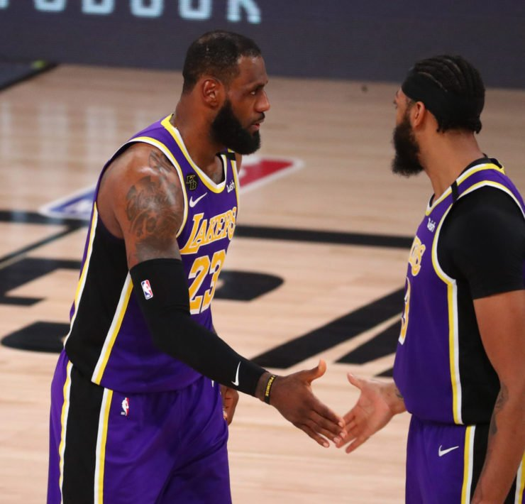 Los Angeles Lakers superstars Anthony Davis and LeBron James celebrate after reaching the 2020 NBA Finals
