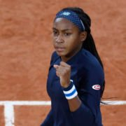 Coco Gauff celebrates after winning a point against Johanna Konta in the French Open 2020