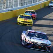 Denny Hamlin, Kyle Busch and Joey Logano in action in NASCAR Cup Series