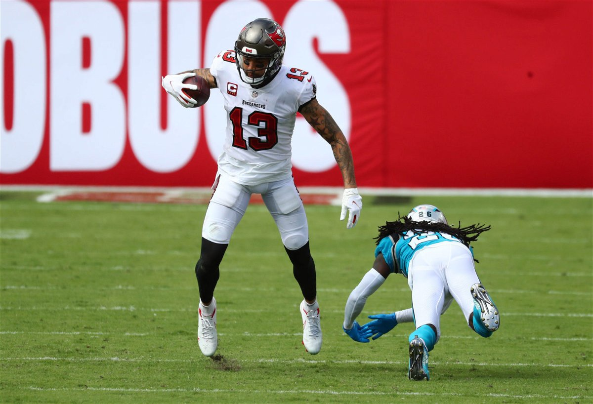 Tampa Bay Buccaneers wide receiver Mike Evans makes a catch against Carolina Panthers in Week Two.