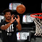 Jimmy Butler warming up