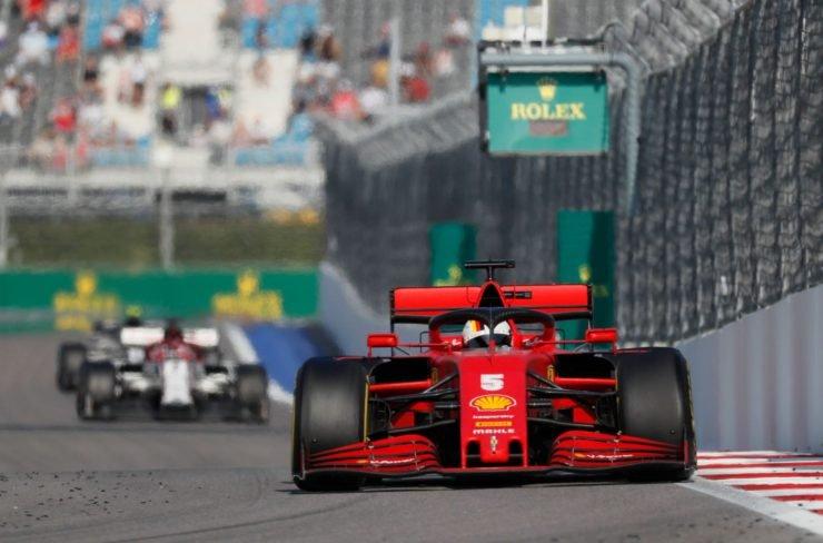 Ferrari's Sebastian Vettel in action during the race at Russian Grand Prix 2020