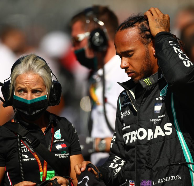 Lewis Hamilton and Angela Cullen before the start of the Russian GP race