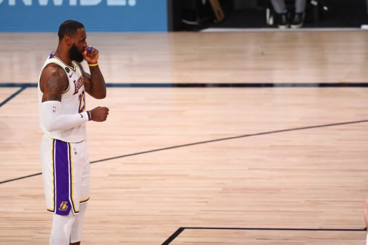LeBron James on the free throw line in NBA Playoffs 2020